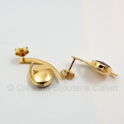 Boucles d'oreilles or 750 millièmes Grenat de Perpignan ronds