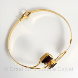 Bracelet massif 750 millièmes 2 Grenats de Perpignan