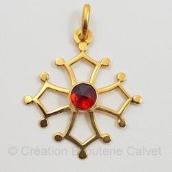 Croix occitane or 750 millièmes Grenat de Perpignan rond