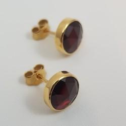 Boucles d'oreilles or 750 millièmes Grenats de Perpignan ronds