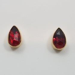Boucles d'oreilles or 750 millièmes Grenats de Perpignan poires