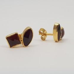 Boucles d'oreilles or 750 millièmes Grenats de Perpignan carrés et navettes