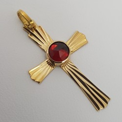 Croix or 750 millièmes Grenat de Perpignan rond