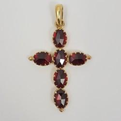 Croix or 750 millièmes Grenats de Perpignan ovales
