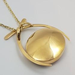 Pendentif or 750 millièmes Grenat de Perpignan ovale