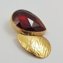 Pendentif or 750 millièmes Grenat de Perpignan poire