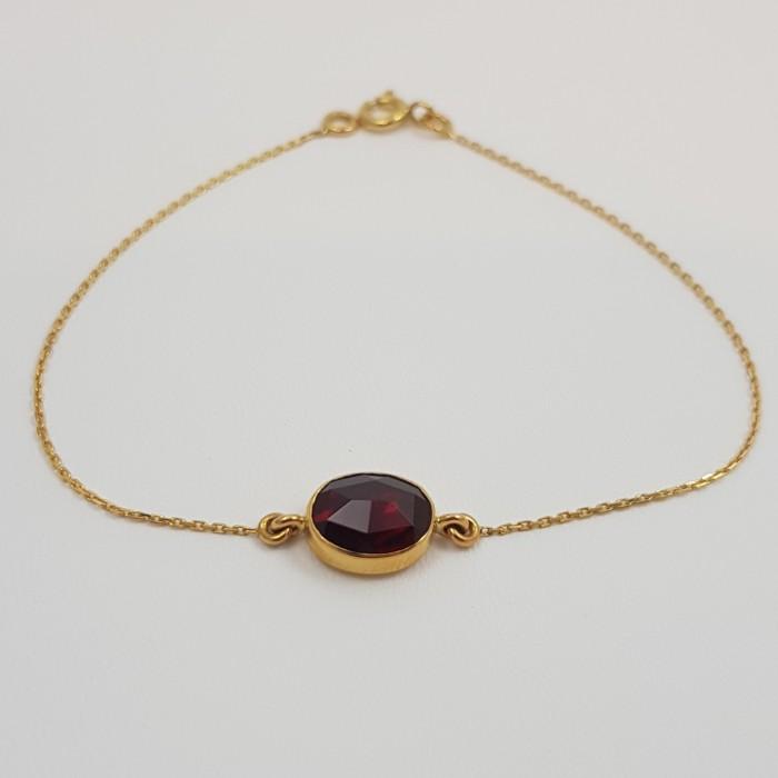 Bracelet or 750 millièmes souple Grenat de Perpignan ovale