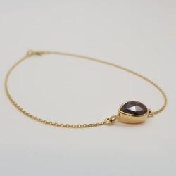 Bracelet or 750 millièmes souple Grenat de Perpignan poire