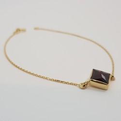 Bracelet or 750 millièmes souple Grenat de Perpignan carré
