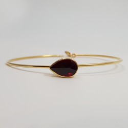 Bracelet or 750 millièmes Grenat de Perpignan poire.